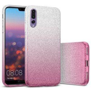 maska Bling 2u1 za Huawei P40 Pro, silikonska, sa šljokicama, srebrno roza
