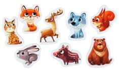 Puzzlika 14798 Erdei állatok oktatási puzzle 8 állatka - 16 darabos