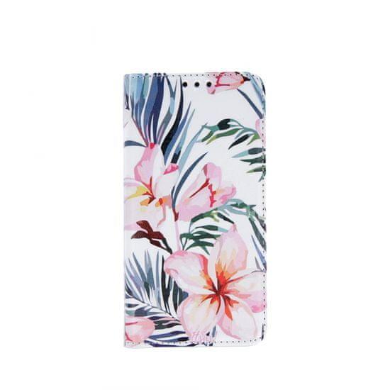 Onasi ovitek za Samsung Galaxy A51 A515, preklopni, lilija, bel