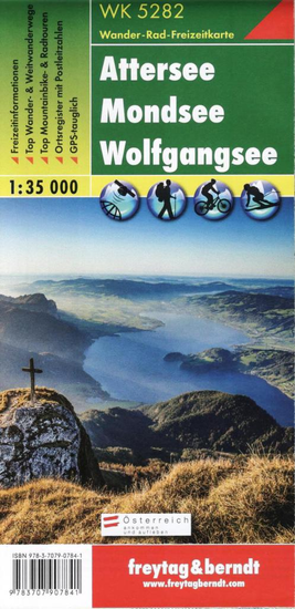 World Maps WK5282 Attersee, Mondsee, Wolfgangsee 1:35t turistická mapa FB