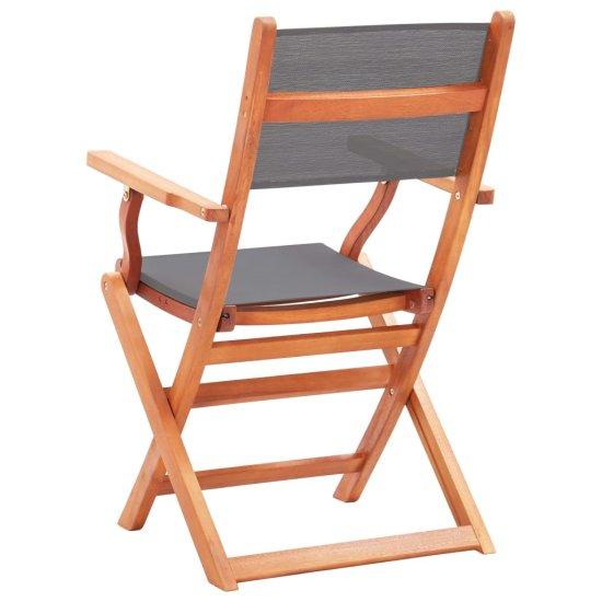 shumee Składane krzesła ogrodowe 4 szt., szare, eukaliptus i textilene