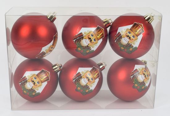 DUE ESSE komplet 6 božičnih bunkic s Hrestačem, Ø 8 cm - Odprta embalaža