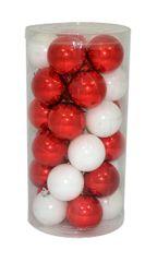 DUE ESSE komplet božičnih bunkic, bela/rdeča, 6 cm, 30 kosov
