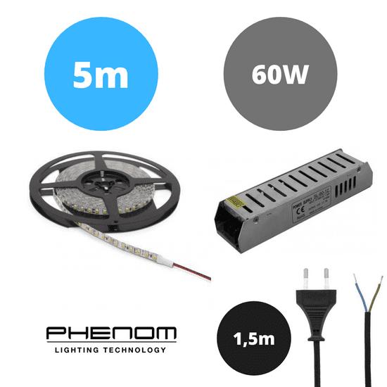 PHENOM Set LED trak 9,6W/m 6000K 5m + napajalnik 60W + priključna vrvica