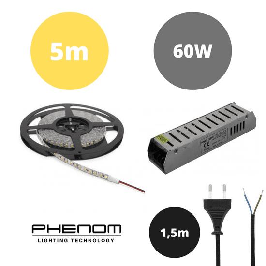 PHENOM Set LED trak 9,6W/m 3000K 5m + napajalnik 60W + priključna vrvica