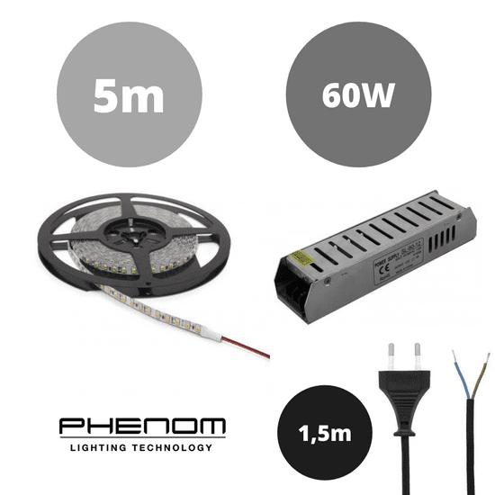 PHENOM Set LED trak 9,6W/m 4200K 5m + napajalnik 60W + priključna vrvica