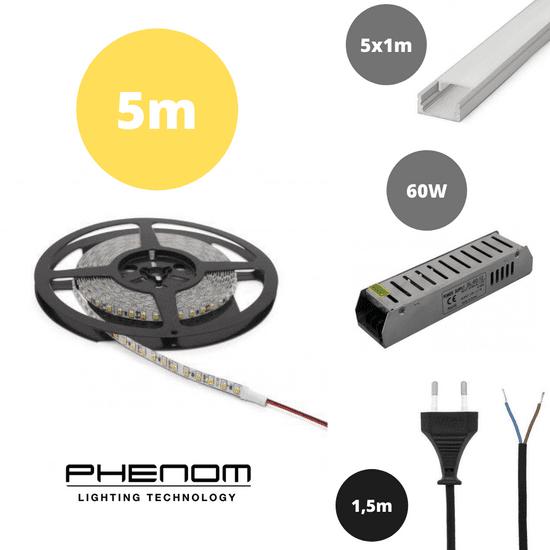PHENOM Set 5x 1m ALU profil mat + LED trak 9,6W/m 3000K 5m + napajalnik 60W + priključna vrvica