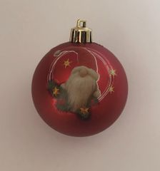 DUE ESSE komplet božičnih bunkic, božični škrat, Ø 7 cm, rdeča
