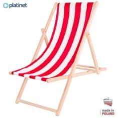 Platinet PSW lesen ležalnik, črtast, rdeče-bel