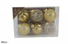 DUE ESSE komplet božičnih steklenih okraskov, zlato-biserna, Ø 8 cm, 6 kosov
