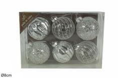 DUE ESSE komplet steklenih božičnih bunkic, srebrne, Ø 8 cm, 6 kosov