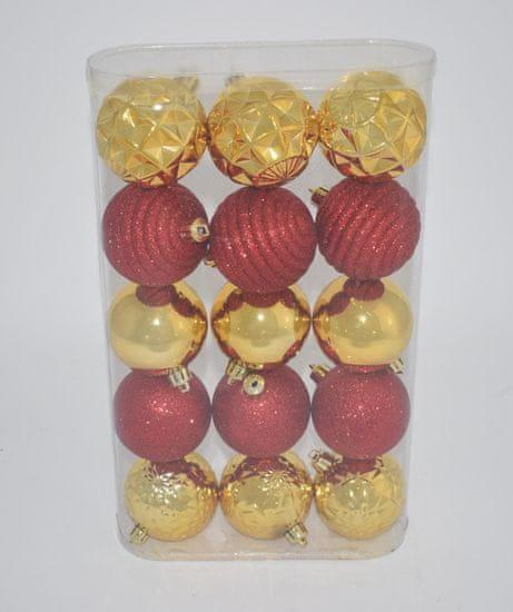 DUE ESSE komplet božičnih bunkic, Ø 7 cm, rdeča/zlata, 15 kosov