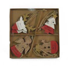 DUE ESSE komplet božičnih lesenih okraskov, 6,5 cm, 8 kosov