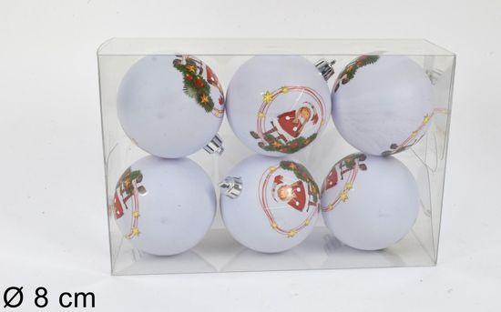DUE ESSE komplet božičnih bunkic, motiv škrata, Ø 8 cm, 6 kosov