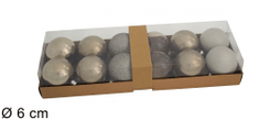 DUE ESSE komplet božičnih kroglic, Ø 6 cm, različni odtenki, srebrne, 12 kosov