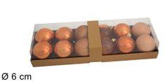DUE ESSE komplet božičnih kroglic, Ø 6 cm, različni odtenki, barva bakra, 12 kosov