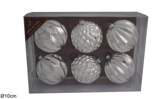 DUE ESSE komplet božičnih bunkic, srebrne, Ø 10 cm, 6 kosov