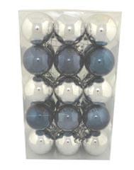 DUE ESSE komplet božičnih bunkic, Ø 6 cm, srebrna/modra, 30 kosov