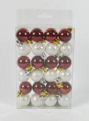 DUE ESSE komplet božičnih bunkic, Ø 3 cm, rdeče/bele, različne površine