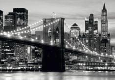 AG design fototapeta czarno - biały Most Brookliński o zachodzie słońca, 360 x 254 cm