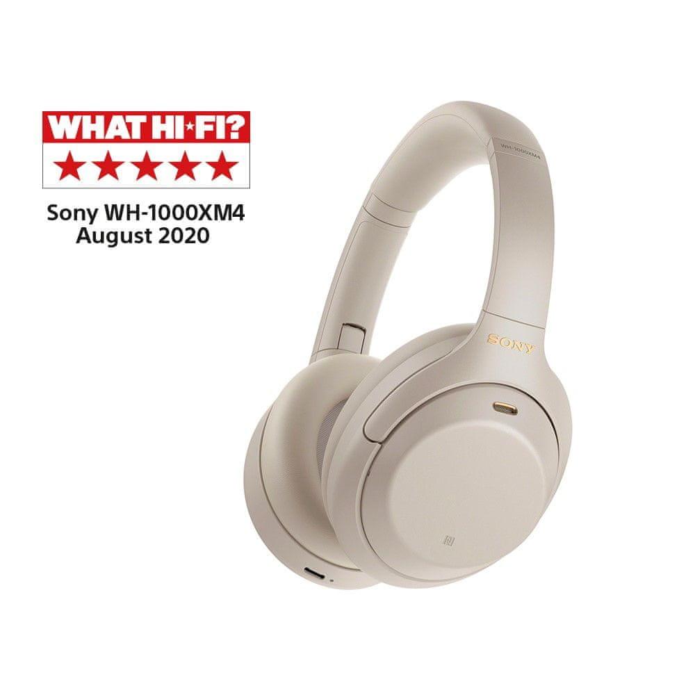 Sony WH-1000XM4, model 2020 stříbrná