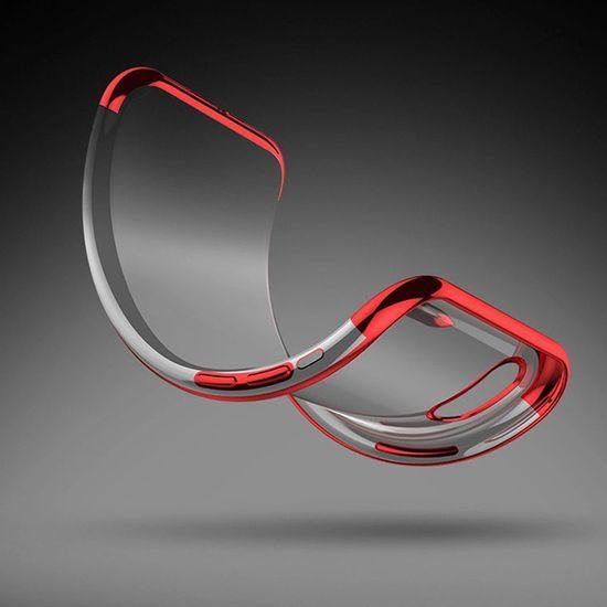 Elegance maska za Apple iPhone SE 2020/8/7, silikonski, ultra tanka, prozirna sa zlatnim rubom