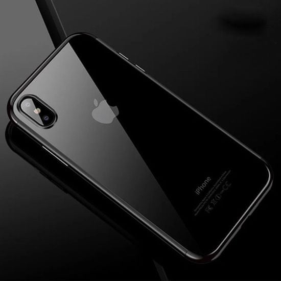 Elegance futrola za Samsung Galaxy A40 A405, silikonska, tanka, prozirna s crnim rubom