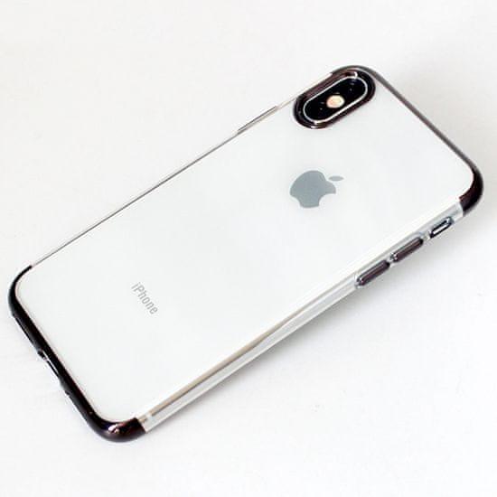 Elegance futrola za Samsung Galaxy A50 A505, silikonska, tanka, prozirna s crnim rubom
