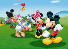 AG design fototapeta Mickey Mouse pleše s prijatelji, 160 x 110 cm, 4 kosi