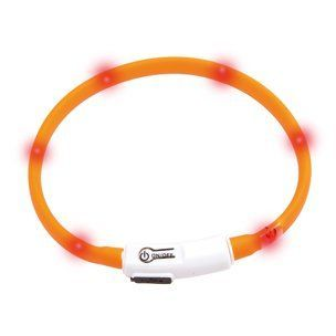 Karlie LED světelný obojek pro kočky oranžový 20 - 35 cm