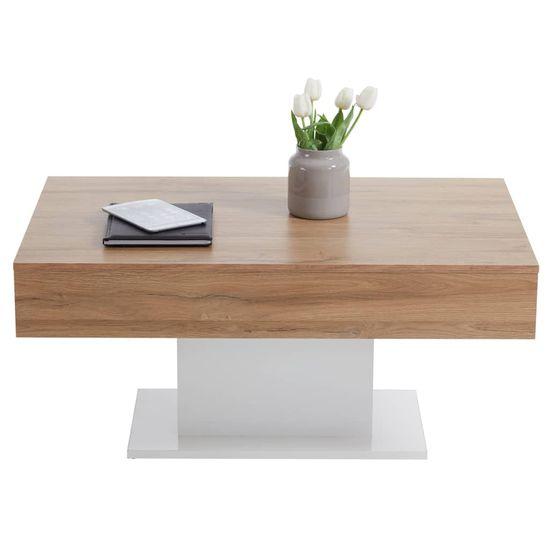 FMD Konferenční stolek dub s patinou a bílý