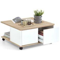 FMD Mobilní konferenční stolek 70 x 70 x 36 cm dub a lesklá bílá