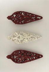 DUE ESSE Set 3 božičnih okraskov 16 cm, rdeči/beli, oblika 1
