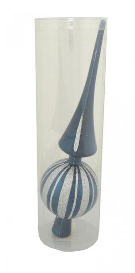 DUE ESSE božična špica, modra s srebrno črto, 28 cm