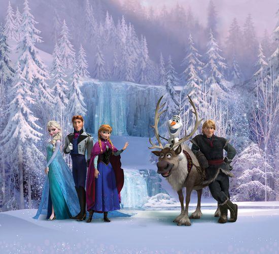 AG design Zasłona Elsa z przyjaciółmi przy lodowym wodospadzie 180 x 160 cm 2 szt