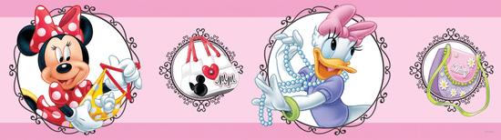 AG design bordiura samoprzylepna Myszka Minnie i Daisy z medalionami na różowym tle 5 m x 14 cm