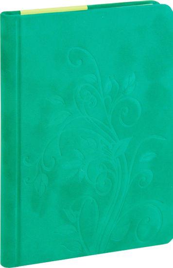 nb grafo Notes A5 črte trde platnice, 96 listov, 0289.01, Floral zelen