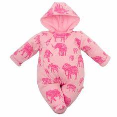 Carero Zateplená kojenecká kombinéza s kapucí Baby Service Sloni růžová