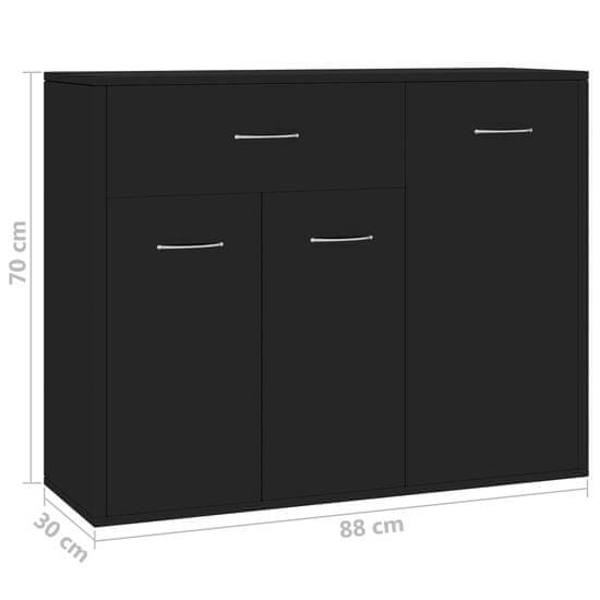 shumee Komoda črna 88x30x70 cm iverna plošča