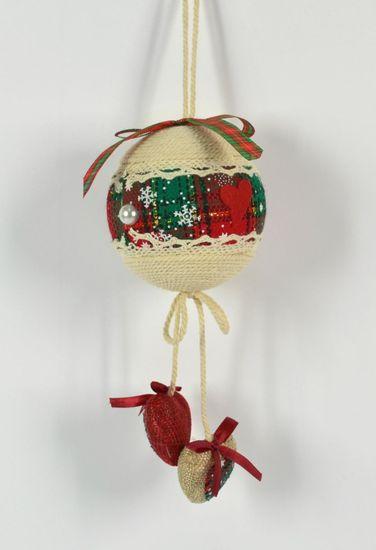 DUE ESSE komplet božičnih bunkic iz blaga, Ø 6 cm, 2 vrsti, 6 kosov