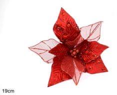 DUE ESSE Vánoční červená hvězda s klipsem 19 cm - rozbaleno