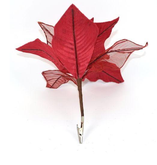 DUE ESSE Vánoční červená hvězda s klipsem 19 cm - zánovní