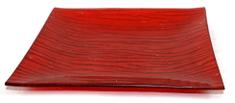 DUE ESSE Okrasni stekleni rdeči pladenj, 20 × 20 cm