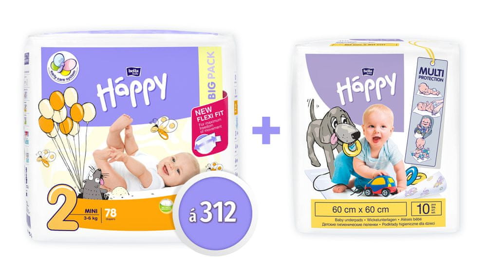 Bella Happy 2 Mini Big Pack (3-6 kg) 312 ks (4x78 ks)