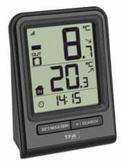 TFA 30.3063.01 Bezprzewodowy czarny termometr, czujnik temperatury 30.3232.02 w zestawie