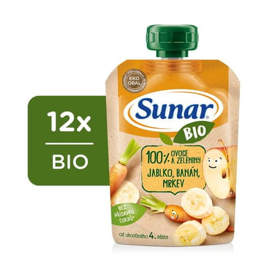 Sunar BIO kapsička Jablko, banán, mrkev 12x 100 g