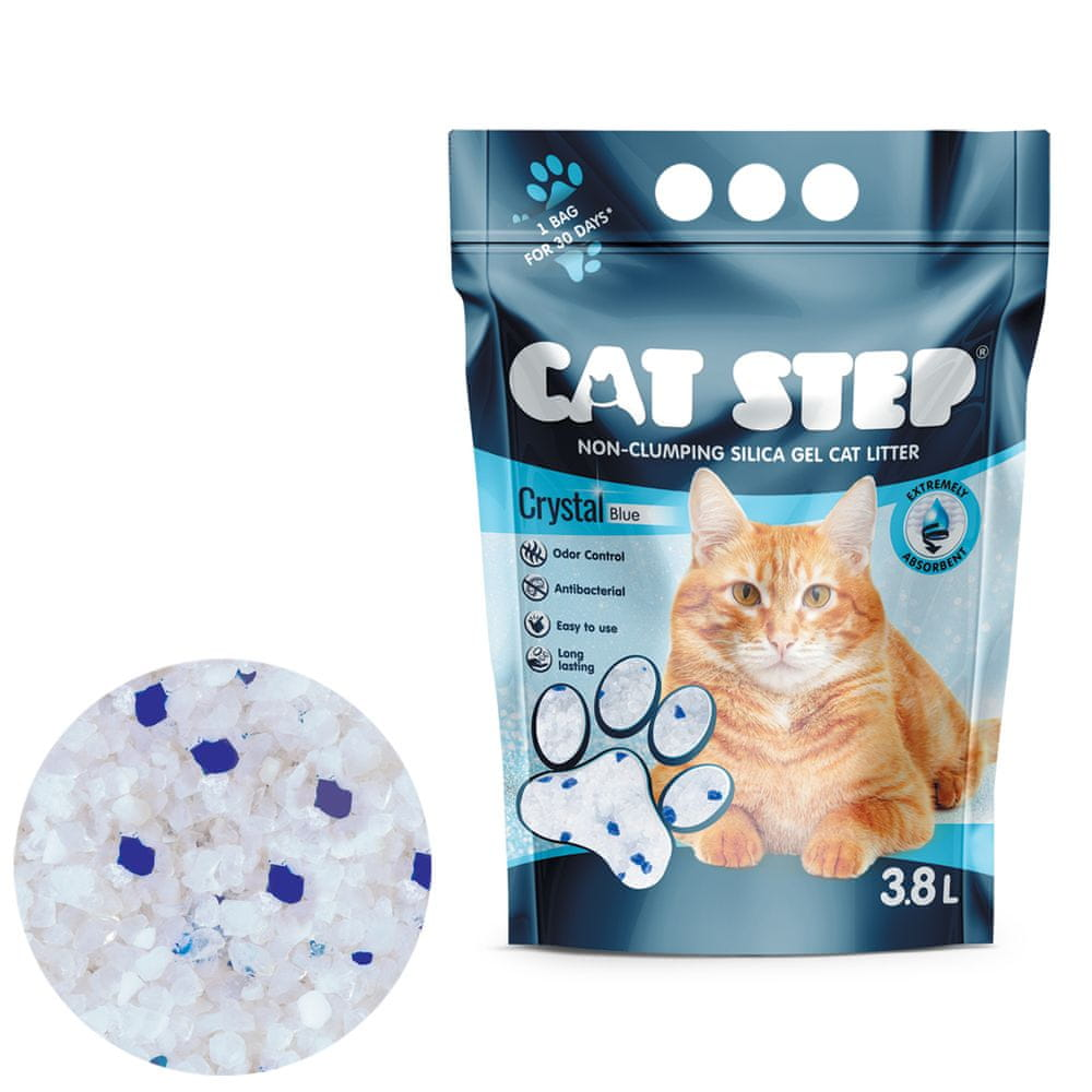 CAT STEP Crystal Blue silikátové stelivo 1,67 kg