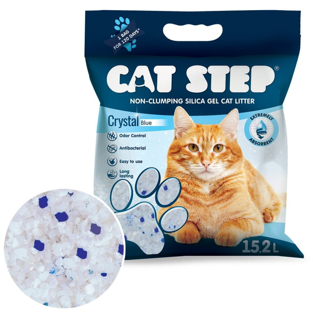 CAT STEP Crystal Blue silikátové stelivo 6,68 kg