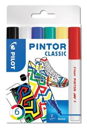 """Pilot Set dekorativních popisovačů """"Pintor F"""", 6 barev klasik, 1 mm"""