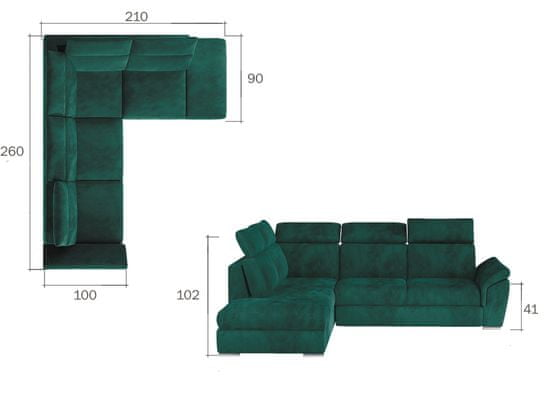 Importworld Rohová rozkládací sedací souprava Loreto - Monolith 09 / Monolith 29 (barva potahu) - pravá